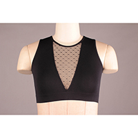 Seamless Bra with Mesh Inset and Removable Padding